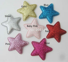 PANNGA About 35MM Padded shiny Felt Star 100pcs sewing Appliques for craft DIY hair clips accessories