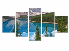 5 Pieces Nature Snow Mountain Scenery Canvas Painting Blue Lake Wall Picture Decorative Home Decor Paintings Framed
