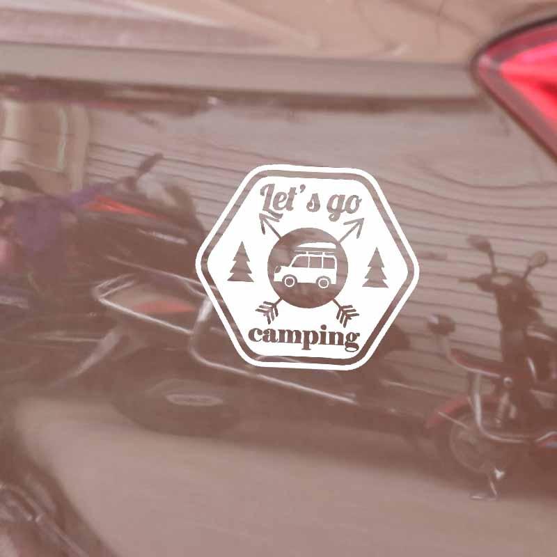 YJZT 14.5CM*13CM Interesting Let's Go Camping Car Window Sticker Decal Black Silver Vinyl C11-1835