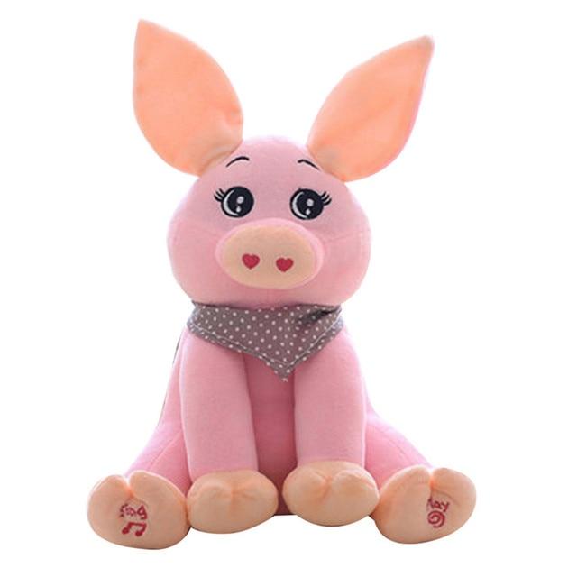 30cm Sound Music Doll Short Plush Rabbit Pink Pig Toy Stuffed Animal