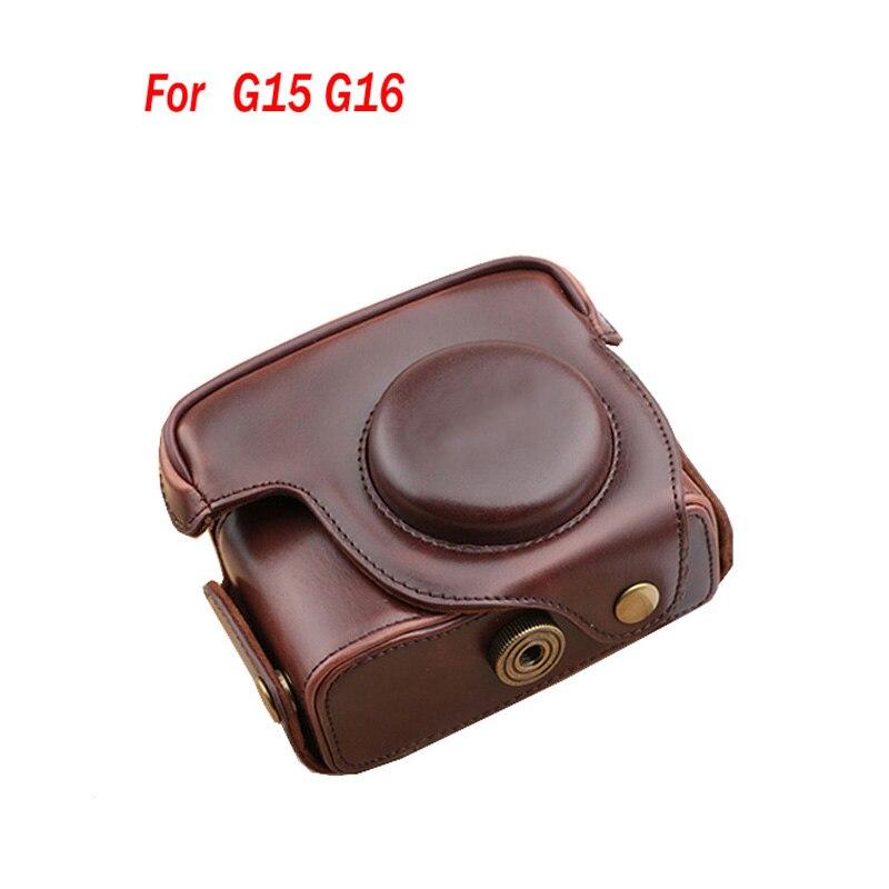 Leather case for Canon Camera Bag Case Cover for Canon Powershot G15 G16 DSLR bag Shoulder Strap