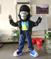 Ohlees Actual Picture Orangutan Monkey Leather Coat Mascot Costume Halloween Party Fancy Christmas Adult Size Head