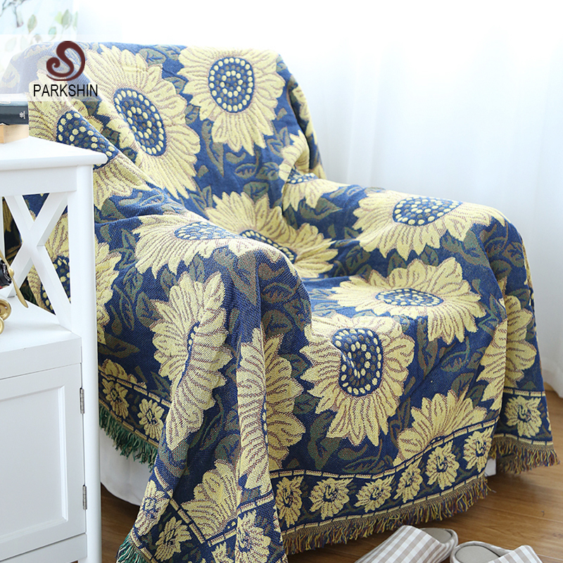 Parkshin High Quality Blanket 100% Cotton Sunflower Knitted Bedspread For Sofa/Bed/Home 130cmX180cm Blanket