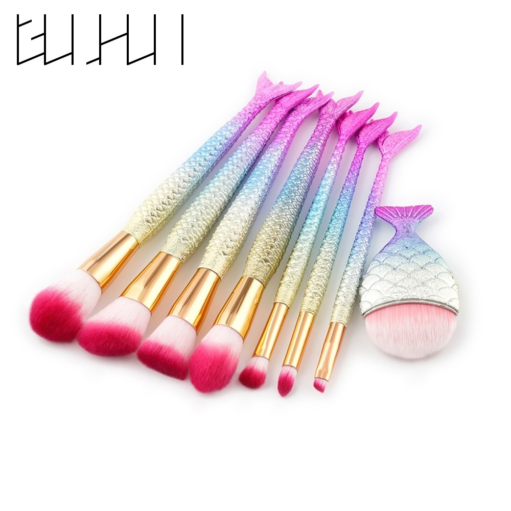 Pro Mermaid Makeup Brushes Set Foundation Eyebrow Eyeliner Blush Contour Brozner Cosmetic Fish Tail Brushes Beauty Tools Kit newest mermaid makeup brushes set fantasy eyebrow eyeliner blush blending contour foundation cosmetic beauty make up fish brus
