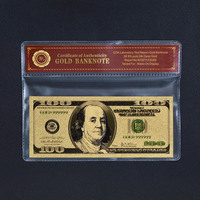 Collectible Gold US 100$ Dollar Ameica Banknote with Plastic Frame