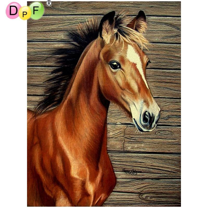 DPF Full Diamond Embroidery Animal Diamond Cross Stitch Crystal Square Diamond Sets Decorative Diy Diamond Painting Horse crafts