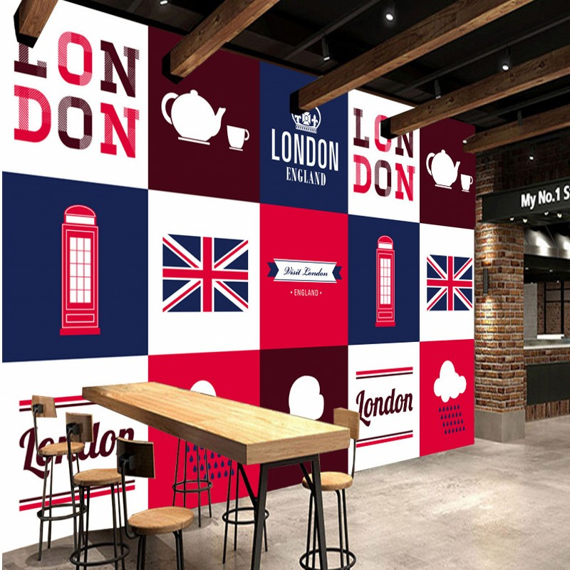 Wallpaper 3d British Style Flag London Phone Kiosk England Fashion Backdrop  Wallpaper Living Room Restaurant Bedroom Mural In Wallpapers From Home ... Part 76