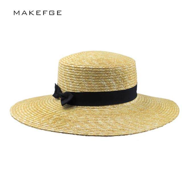 Women Summer Beach Sun hats 2017 Brand New Flat Top Straw Hat Boater Hats  Bone feminino 1b681504d15c