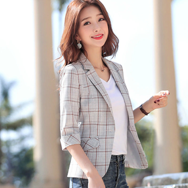 PEONFLY Elegant Autumn Turn Down Collar Slim Plaid Blazer Jacket Half Sleeve Office Lady Woman Suits Slim Casual Buckles Coat 3