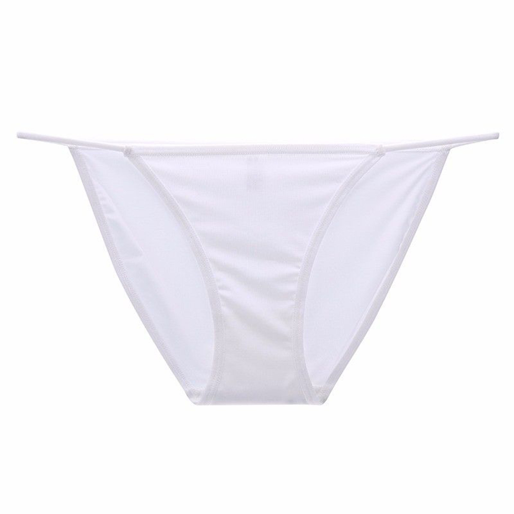 Sexy Women's Underwear Ice Silk Low Waist Knickers Breathable Soft Women Briefs   Panties   Solid Color Seamless Sexy Underpants