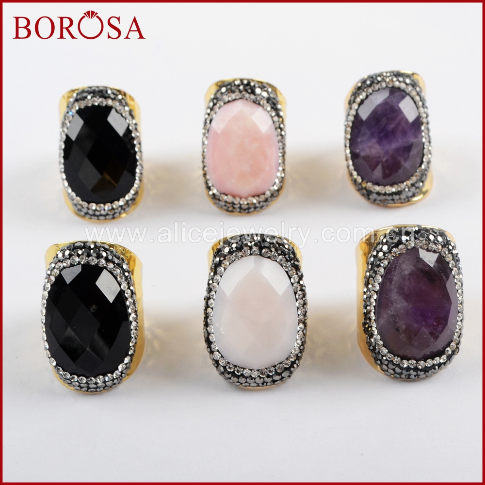 BOROSA 5/6PCS Oval Natural Multi-kind Faceted Stone Rings for Women Rhinestone Pave Black A-gate Crystal Druzy Ring JAB937