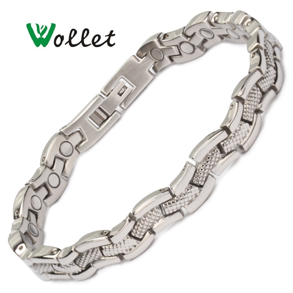 Wollet Jewelry Health Care Magnetic Therapy All Magnets Stainless Steel Bracelet Bangle For Women Silver Color Healing Energy
