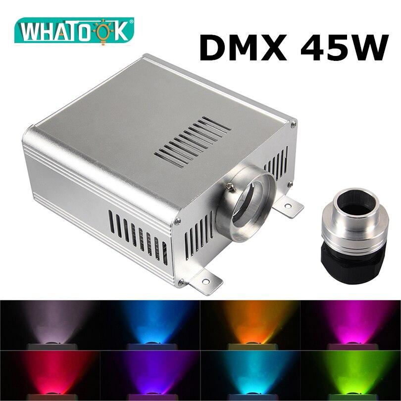 DMX 45 W RGBW lumière moteur Machine LED Fiber optique plafond Kits ciel étoilé fête de mariage lustre LED DMX512 Source de lumière