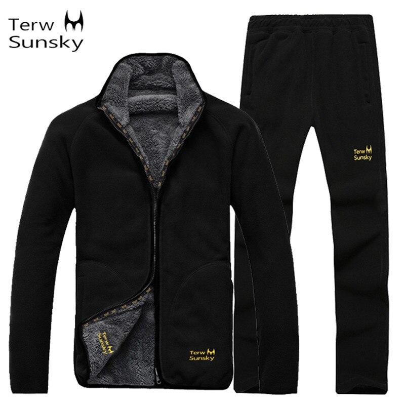 Outdoor inverno uomo cappotto e pantaloni di alta qualità caldo pile fodera dei vestiti di spessore Giacca escursionismo arrampicata sportiva del vestito maschile