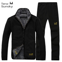 Outdoor Winter Men Coat And Pants High Quality Warm Fleece Liner Clothing Thickness Jacket Sports Climbing