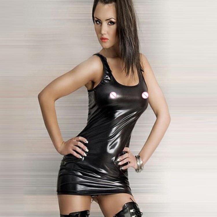 Plus Size XXL Women Erotic Lingerie Latex Dress Catsuit