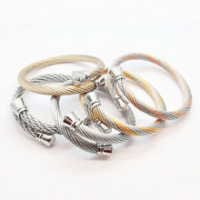 цены 361L Stainless Steel Cable Bracelet Men Women Gold Color Wide Cuff Cable Wire Male Chain Bracelets Bangles 2017 Fashion Bijoux