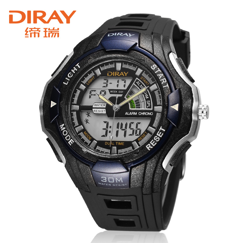 DIRAY Dual Display Watch Men Watch Waterproof Silicone Sport Watches LED Digital Watch Clock relogio masculino reloj hombre