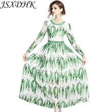 2b05c5ef28 JSXDHK Runway Designer Long Sleeve Bohe Maxi Dresses 2018 Summer Women  Green Chiffon Printed Pretty Peas Long Party Beach Dress