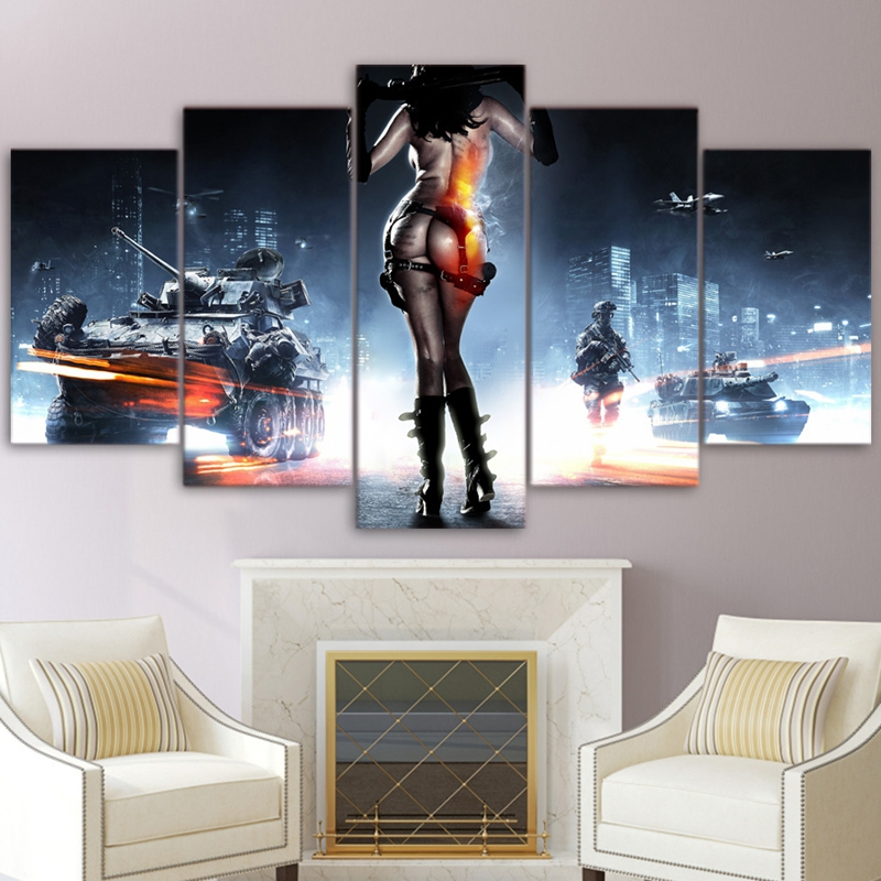Modern Pictures Canvas Poster Hd Printed Wall Art 5 Pieces Home Decor Battlefield Female Warrior