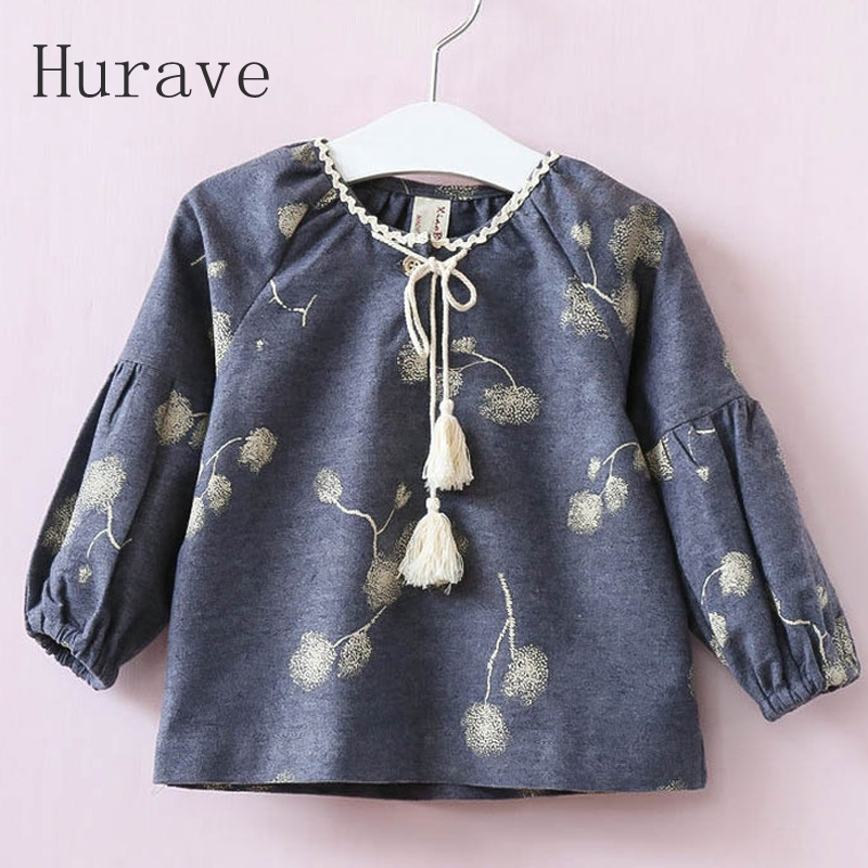 Hurave Girls Shirt 2017 New Arrival Autumn Branches Printed Tassel Long Sleeve Infantil Kids Clothing Shirts