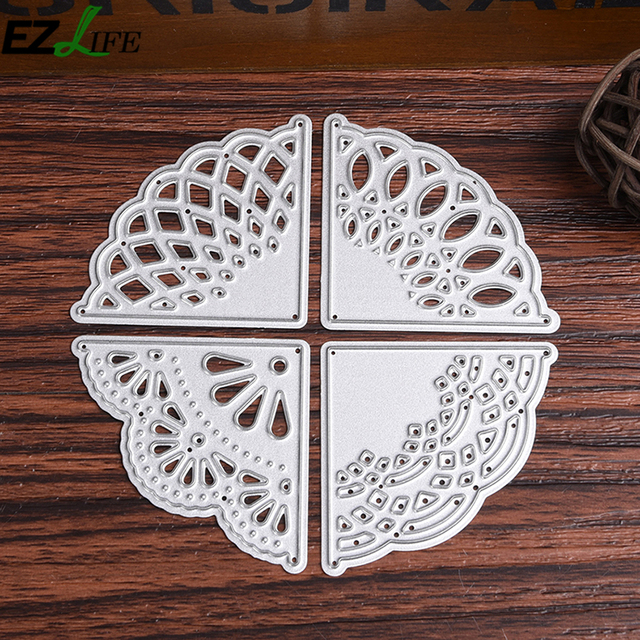 4 unids/set esquina flor patrón metal Recortes de papel snijmal en ...