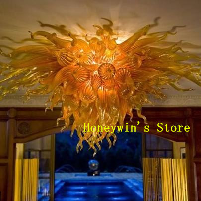 Gold Glass Flower Ceiling Light LED Light Wonderful Design Hotel Home Decoration Chihully Style Murano Blown Glass Ceiling Light