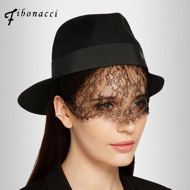Fibonacci maison michel fedoras lã chapéus para mulheres chapéu de feltro  preto bud silk veils senhoras tampas fedora chapéu da forma da senhora em  Fedoras ... e632d5d65b3