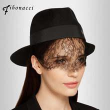 Fibonacci maison michel wool fedoras hats for women felt hat black bud silk veils ladies fedora caps lady fashion hat