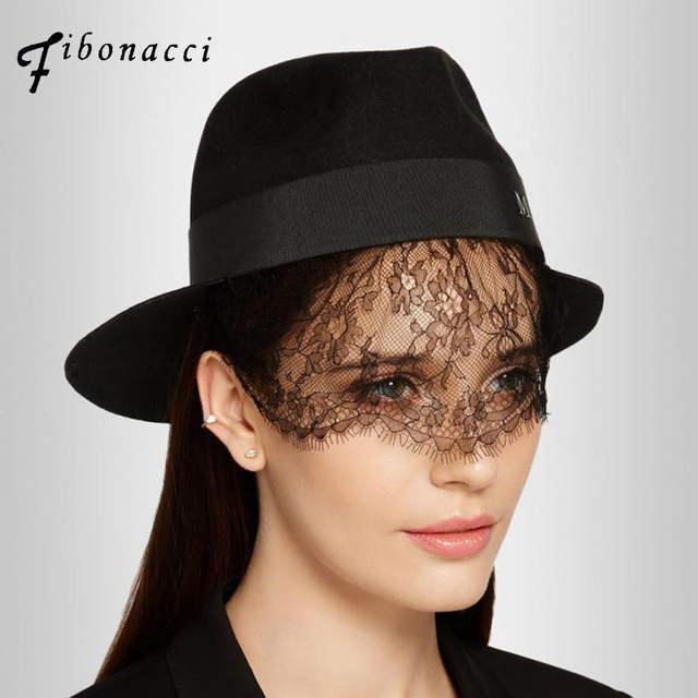 c54d981e3d6 Online Shop Fibonacci maison michel wool fedoras hats for women felt hat  black bud silk veils ladies fedora caps lady fashion hat