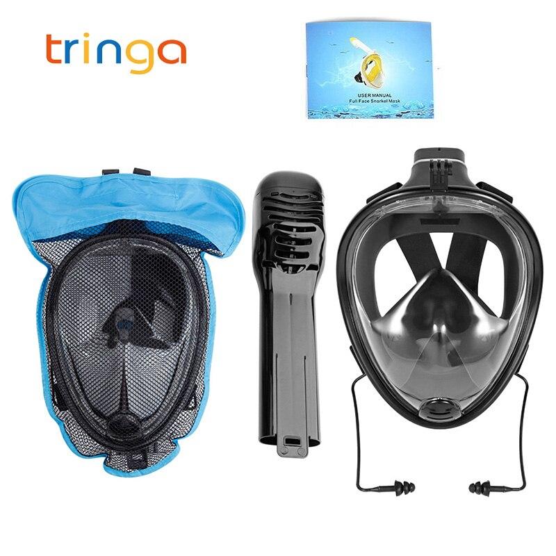 Adult Full Face Snorkeling Mask Panoramic View Anti fog Anti Leak Swimming Snorkel Scuba Underwater Diving