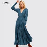 ORMELL Moda V Yaka Uzun Elbise Kadın Sonbahar Katı Bohemian Ayak Bileği Uzunluk Backless Hollow Out Maxi Kadın Rahat Elbiseler Sıcak