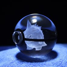 Dropship 2 inch 50mm Crystal Glass Pokemon Go Plus Action Figure Pokeball Creative Christmas Birthday Gifts Home Decoration(China)
