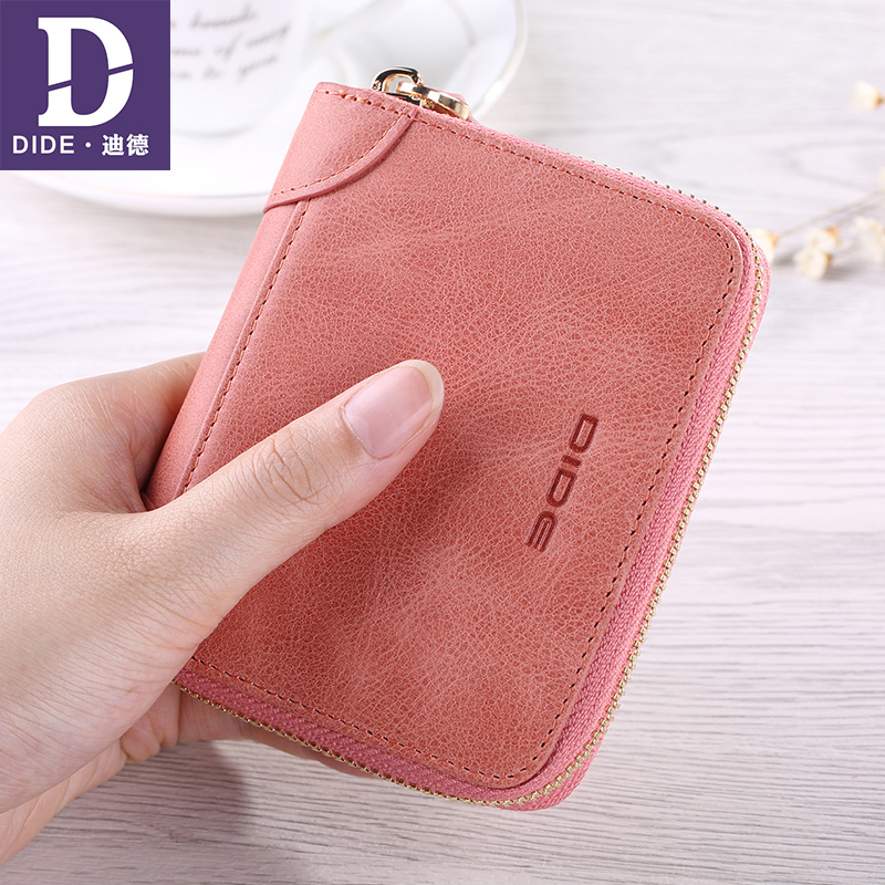DIDE Lovers Wallets Short Women Wallet Female Genuine Leather Men Wallets Zipper Design With Coin Purse Pockets Mini Walet leather look mini skirt with zipper details