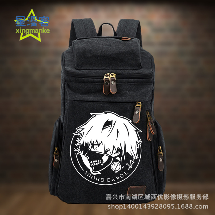 Anime Backpacks Tokyo Ghoul COSPLAY Creative Simple Casual Fashion Retro College Style Men and Women Canvas Backpack bespeco zx210