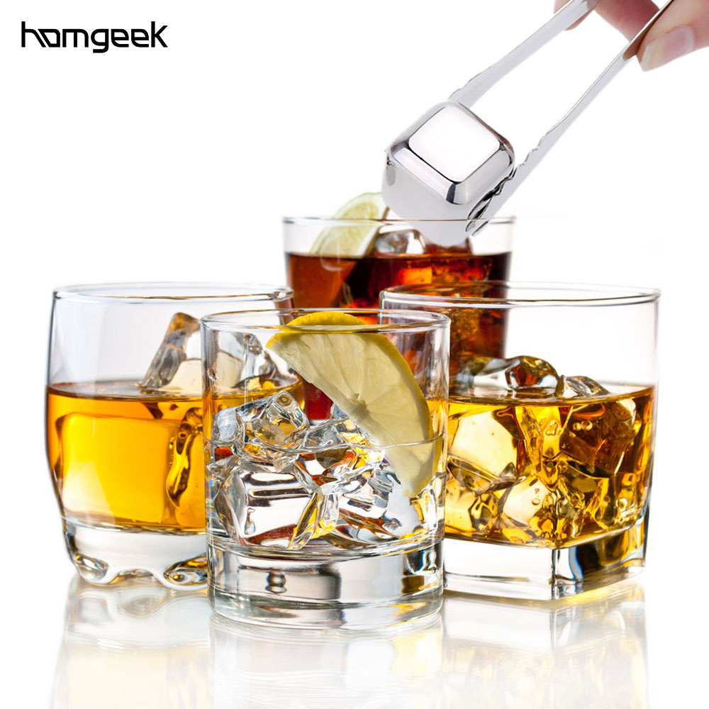 4pcs,6pcs/lot Whisky Wine Beer Cooler Ice Stone Stainless Steel Cooling Tools with Plastic Storage Case Tongs chopeira Щипцы