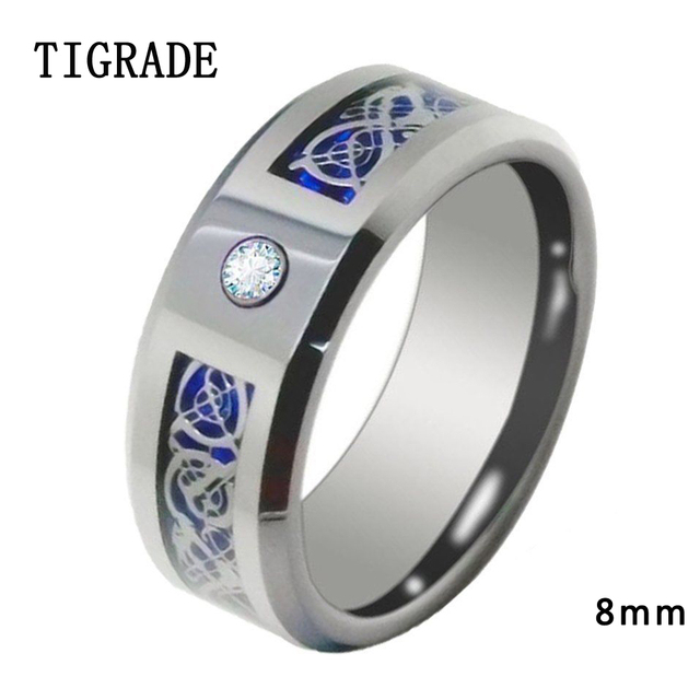 8mm Blue Carbon Celtic Dragon Inlay Cubic Zirconia Tungsten Ring Men Black Silver Wedding Rings Engagement