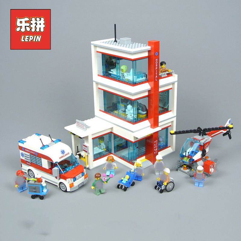 Lepin 02113 New City Hospital Set Ambulance Compatible with 60204 Model Building Blocks Bricks Kits Kids Funny Role Play Toys