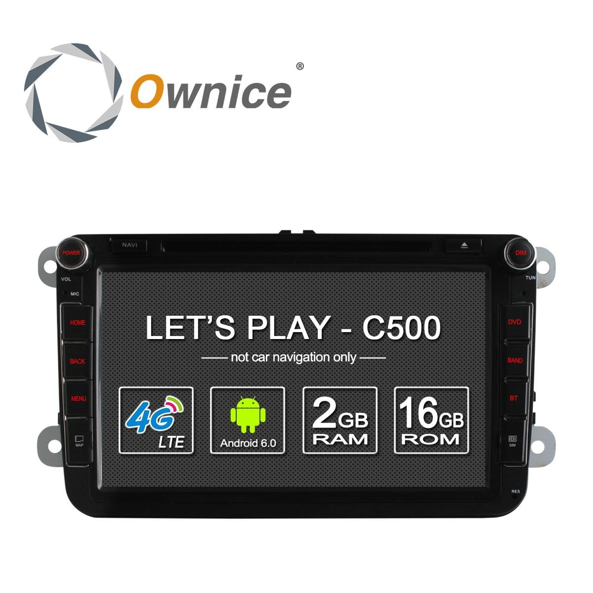 4G SIM LTE Nerwork Ownice C500 1024*600 Android 6.0 2G RAM 2 Din Car DVD GPS Navi Radio Player For VW Skoda Octavia 2