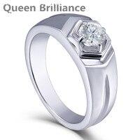 Królowa Brilliance 0.5ctw Lab Grown Moissanite Diament Pierścionek zaręczynowy Wedding Band Platinum Galwanicznie 925 Srebro Mężczyzn Pierścionki