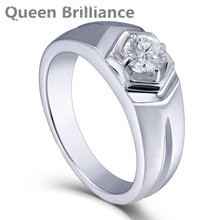Queen Brilliance 0.5ctw Lab Grown Moissanite Diamond Engagement Ring Wedding Band Platinum Plated 925 Sterling Silver Men Rings