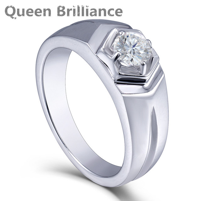 Queen Brilliance 05ctw Lab Grown Moissanite Diamond Engagement Ring Wedding Band Platinum Plated 925 Sterling Silver Men Rings