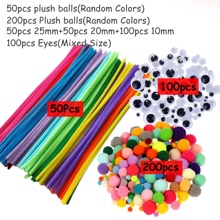 Плюшевая палочка/помпоны радужных цветов Shilly-Stick Обучающие DIY игрушки ручной работы художественное ремесло творчество devolooping игрушки GYH - Цвет: 50stick200pom100eye