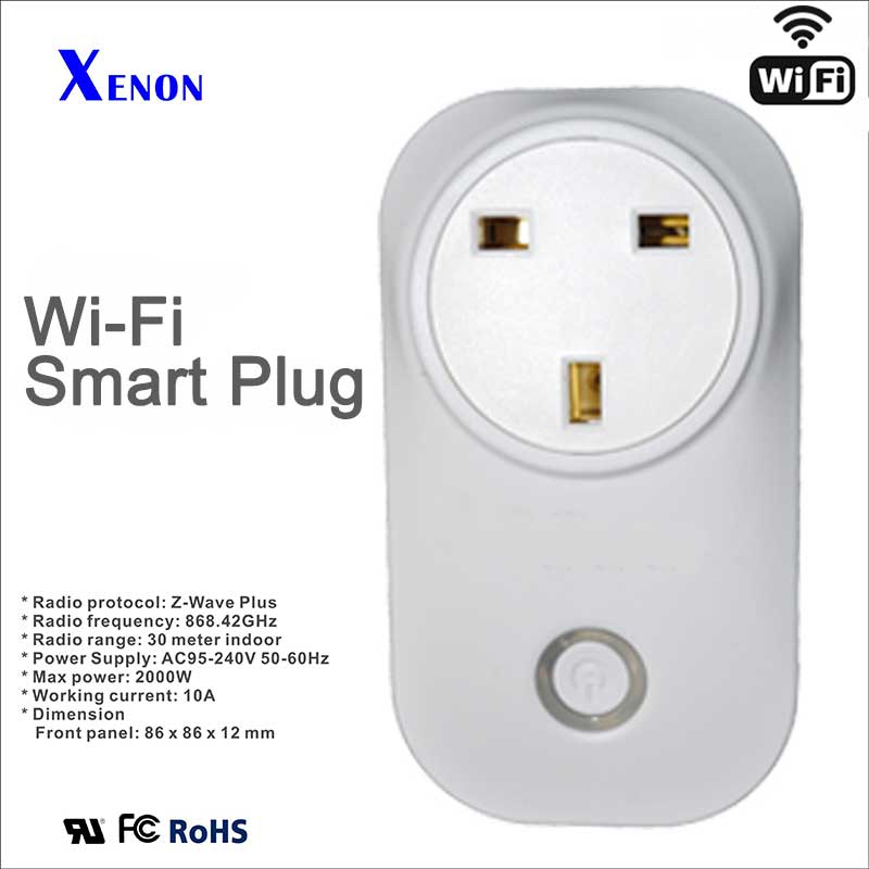 Xenon Wi-Fi Outlet UK Works with Amazon echo Alexa Wireless remote Controls Timer Switch sockets for Smart Home Automation xenon wi fi bulb smart wreless bulb app control rgb e27 led lamps hot sale smart led lighting bulbs works with amazon echo alexa