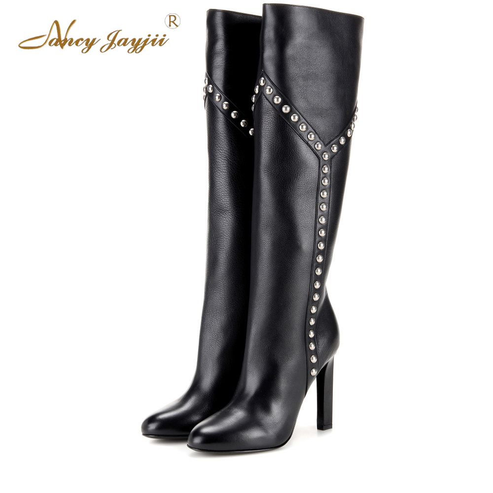 Nancyjayjii Women Fashion Black Knee-High Rainstone Boots Round Toe High Heels Dress&Office Bead Slip-on Shoes,Plus Size 4-16