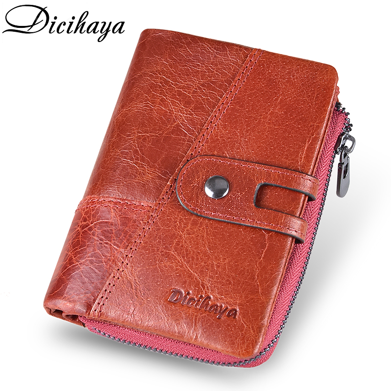 DICIHAYA NEW 2019 Genuine Leather Women Wallet Samll Women Leather Wallets Brand Coins Purse Red COW Leather Wallets Card Holder