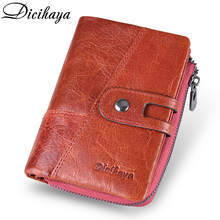 DICIHAYA NEW 2019 Genuine Leather Women Wallet Samll Wallets Brand Coins Purse Red COW Card Holder