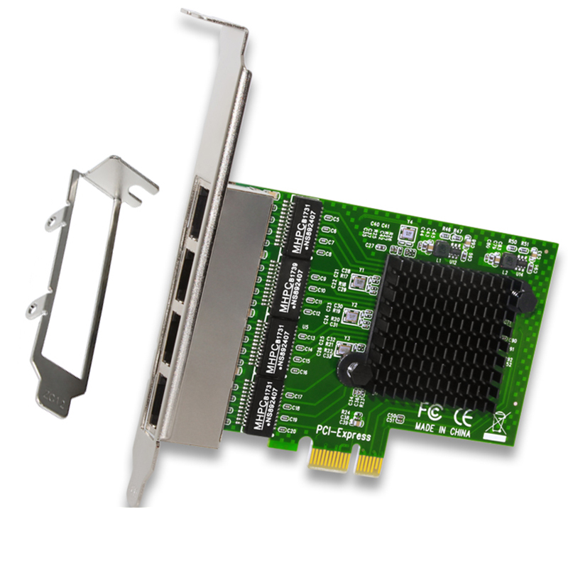 Network Card 4 Port Gigabit Ethernet 10/100/1000M PCI-E PCI Express To 4x Gigabit Ethernet Network Card LAN Adapter For Desktops