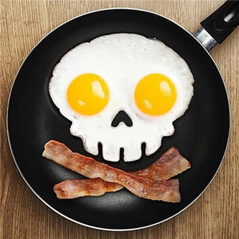 kitchen cooking tool unique design Silicone Rubber egg mold Non stick Skull Eggs Fried Frying Mould Pancake Egg Ring Shaper Mold