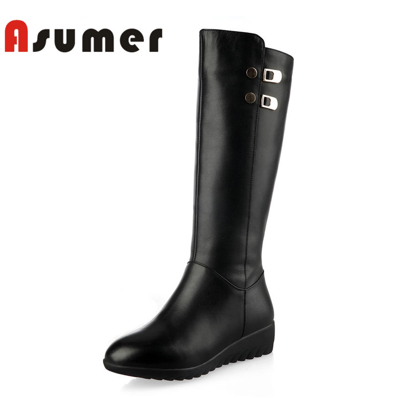 ASUMER HNEW 2018 fashion adult mid calf boots for women high quality winter boots round toe comfortable genuine leather bootsASUMER HNEW 2018 fashion adult mid calf boots for women high quality winter boots round toe comfortable genuine leather boots